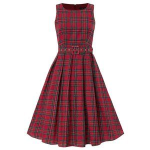 Dolly and Dotty Red Tartan Plaid Retro Dress